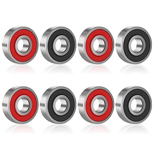 JZZJ 8 Piezas de Rodamientos Rodamientos de Skate Cojinetes de Patines de Rueda y Longboard 608 2RS, Doble Blindado, Rojo y Negro