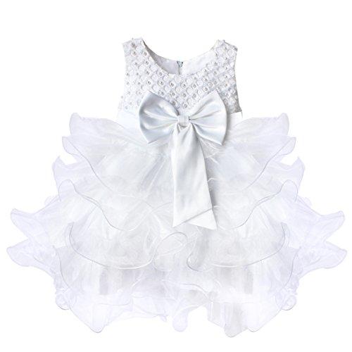 YiZYiF Baby Mädchen Kleid mit Schleife Bowknot Taufkleid Blumenmädchenkleider Hochzeit festlich Kleid Party Kleinkind Gr. 68-104 (98, Weiß)