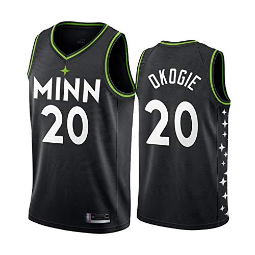 YZQ Jerseys Men's - Minnesota Timberwolves # 20 Josh Okogie - Jerseys, Fresco Tela Transpirable Camiseta De Baloncesto Chaleco Top Camiseta,L(175~180cm/75~85kg)