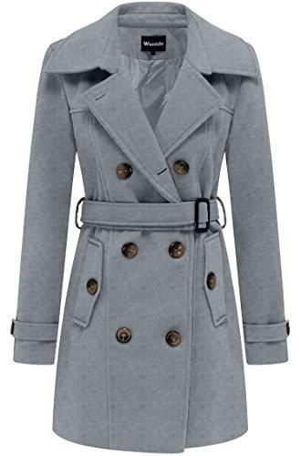 Wantdo Abrigo de Lana Gabardina Cinturón Doble Botonadura Mujer Gris Medium