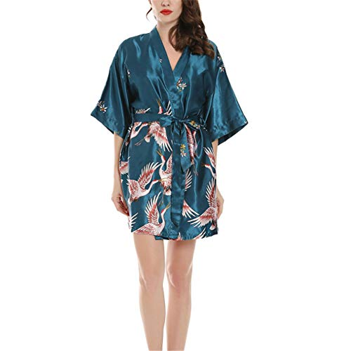 Seide Satin Kimono Kleid Kimono Bademantel Damen Lange Robe Girl Party,Seidenärmel blau S