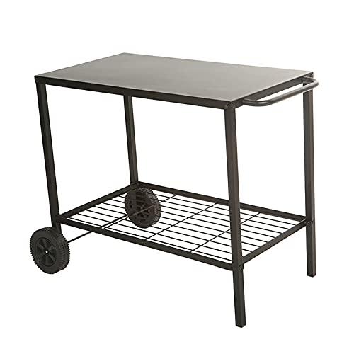 BRASERO FAVEX - Chariot en Acier pour plancha Cooking Box - Desserte de Jardin extérieure - 2 Niveaux de Rangement - 85 cm - Facile à déplacer - Noir