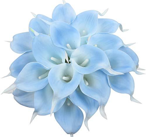 Tifuly 24 Piezas de Lirios Artificiales de látex, Ramos de Flores Falsos de Lirio de Tallo Realista para el hogar, Bodas, Fiestas, decoración de oficinas, arreglos Florales (Cielo Azul)