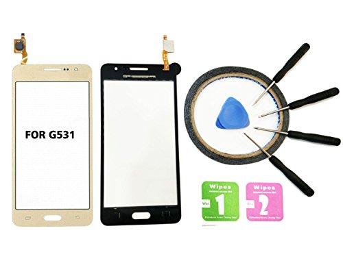 JRLinco Für Samsung SM G531 G531F Galaxy Grand Prime VE (Ohne LCD) Glas Bildschirm Display Touchscreen Ersatzteil Für Schwarz + Werkzeuge & doppelseitigen Kleber + Alkohol Reiniger Paket