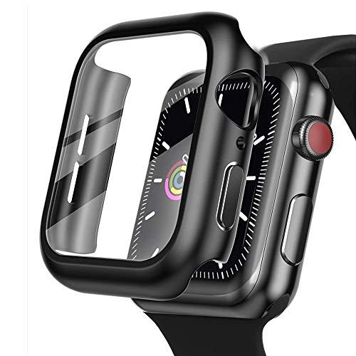 Funda para Apple Watch caso 44mm 40mm pulsera de vidrio templado para iWatch 42mm 38mm 42 para Apple Watch Series 6 5 4 3 44 42 38mm (40mm para Serie 6/SE/5/4, Blanco)