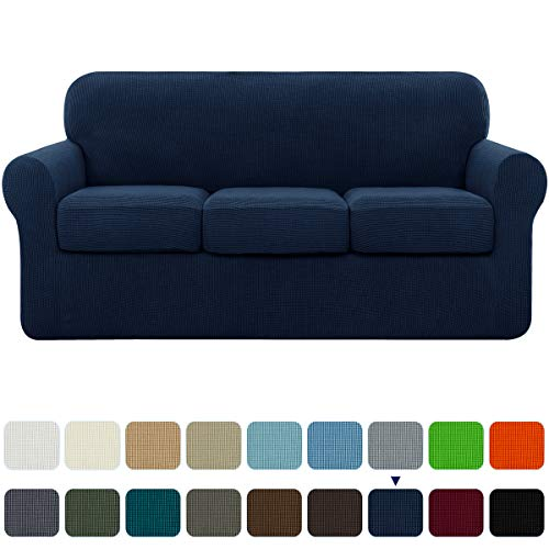 subrtex High Stretch Jacquard Slipcover with 3 Separate Cushion Common Couch Sofa Cover Coat for 3-Seater Conventional Settee Spandex Washable Furniture Protector (Large, Navy)