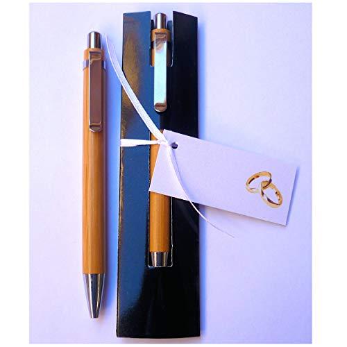 Bolígrafos para Regalar como Detalles y Recuerdos de Boda - Madera de Bambú con Funda - Y lo Más Alucinante: ¡¡Escriben Super Bien!! - (40 unidades)