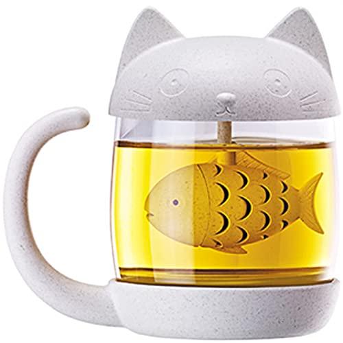 Taza de té de cristal del gato,Lovely Glass Tea Mug Taza de...