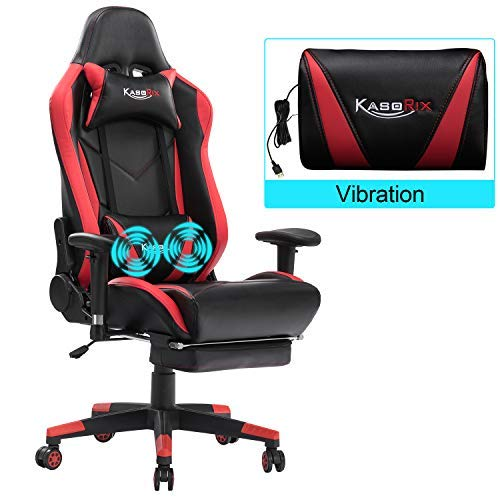 Kasorix Gaming Stuhl Spielstuhl Ergonomischer Rennstuhl mit Fußstütze und Griffhöhe verstellbar, geeignet für Büro und Studium (Rot