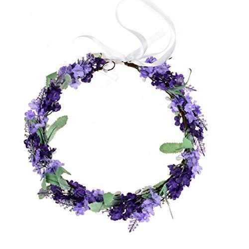 Vividsun Lavender Flower Crown Floral Wreath Headband Photo Props (Mix/purple)
