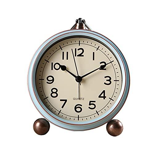 Reloj de escritorio Reloj Retro Silent Table Reloj Ninguno Tick Reloj de alarma EUROPEO DE ESTILO EUROPEO AGRANTES HOMBRES DORMITORIO CASA DE MESA DE MESA DE MESA DE BATERÍA Reloj de mesa