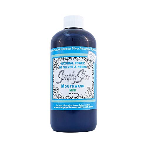Simply Silver Mouthwash Mint Flavor- All Natural Colloidal Silver Mouthwash with Patent Pending Formula, Alcohol and Fluoride Free, 16 oz