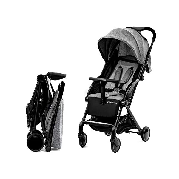 Kinderkraft Pilot light stroller, buggy stroller, child buggy, folding KinderKraft An innovative folding system, with a shoulder strap for easy transport The set contains: Modern barrier, shopping basket under the seat, foot protection, rain cover and cup holder. High quality stored, rubber wheels - all muffled. 1