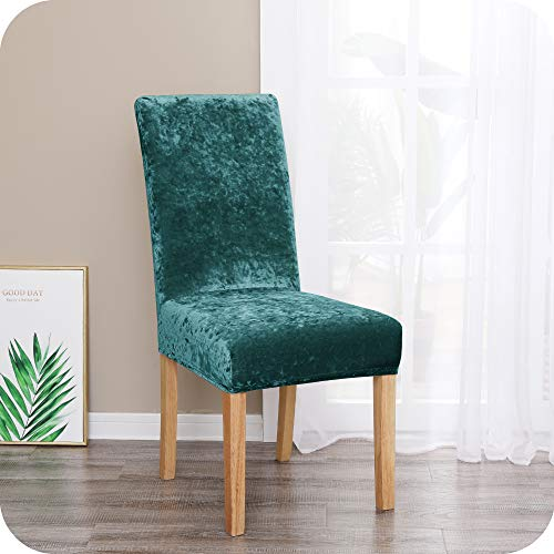 Amazon Brand – Umi Fundas para sillas de salón elásticas Suave Turquesa(Juego de 6)