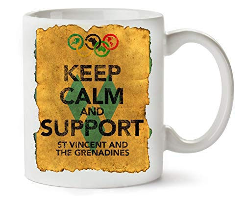 Vintage Keep Calm Support St Vincent The Granadines Flag Background Classic Tea Coffee Mug