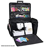xl sewing machine trolley - Everything Mary 4 Wheels XL Collapsible Deluxe Sewing Machine Trolley , Black Quilted - Rolling Carrying Storage Case for Large Brother, Singer, & Bernina Machines - Universal Travel Tote Bag