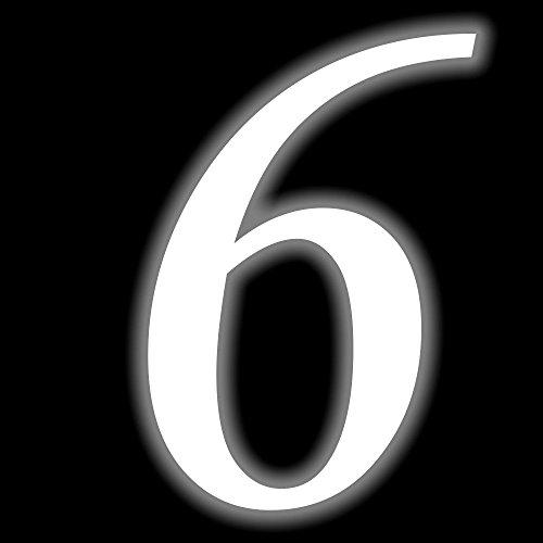 Leuchtziffer - Selbstklebende Hausnummer - 6 - leuchtend, 10 cm hoch - Kleben statt Bohren, nachleuchtend Aufkleber, Ziffer, Zahlen - Leuchtfolie