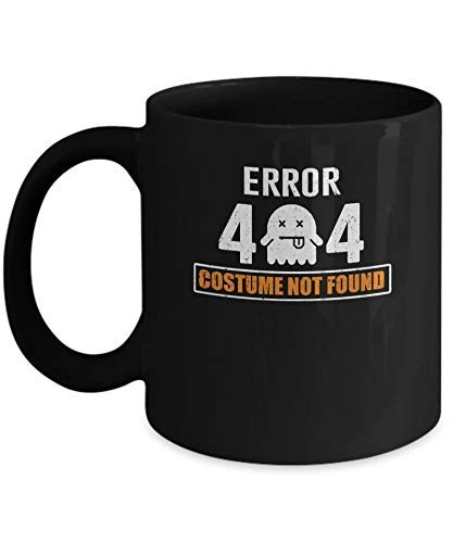 N\A La Mejor Taza de Regalo Divertido Halloween Error 404 Disfraz no Encontrado Taza Divertida Regalo Negro