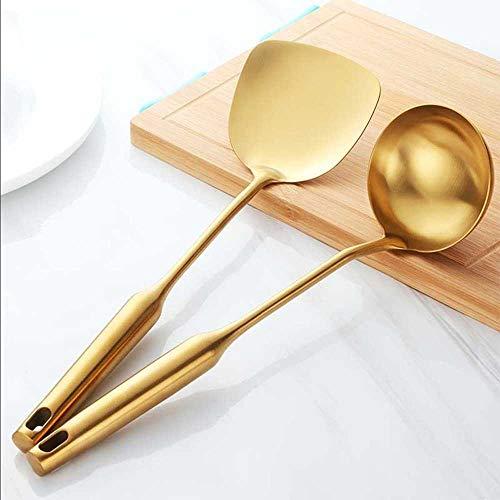 COOVV 2 Stks Keukengerei Set RVS Turner en Soep Lepel Pap Koken Frituren Steak Utensils Gouden Keuken Spatel Ladle
