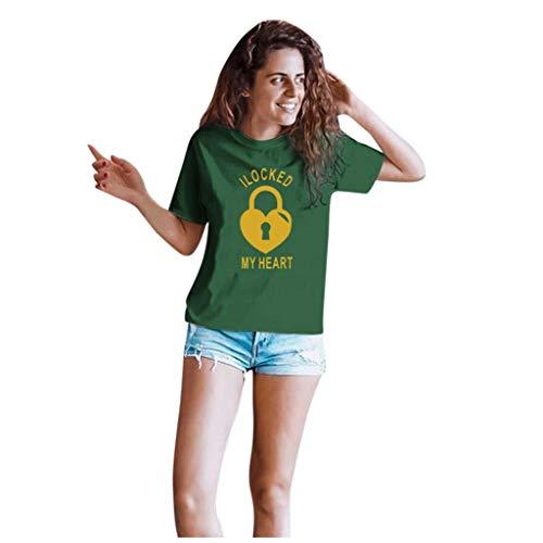 Dasongff Couple-shirts voor dames en heren, cadeauset voor verliefden, partnerlook, sleutels en vergrendeling Large groen/dames.