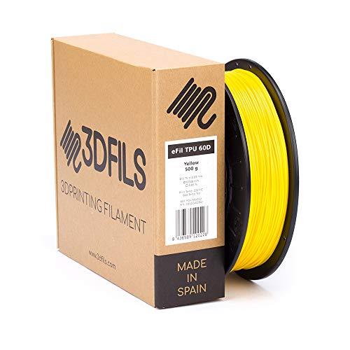 3DFILS - Filamento flexible para impresión 3D eFil TPU 60D: 1.75 mm, 500 g, Amarillo