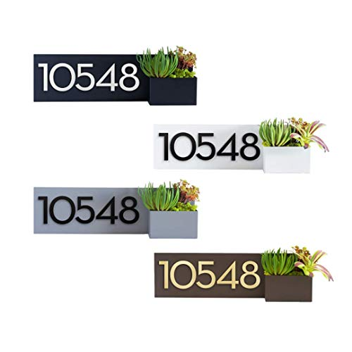 Modern Aspect Vista View Planter With Plaque and Magnetic Numbers - Black, Brown, Gray, White With Customizable Numbers Made In The USA