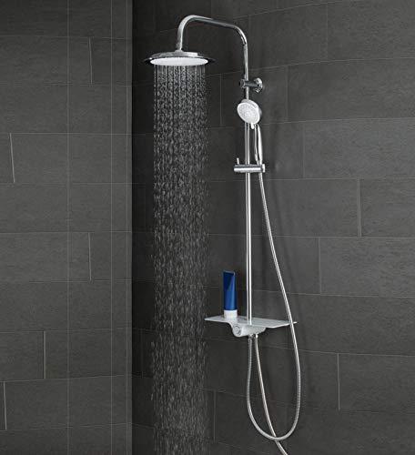 SCHÜTTE AQUASTAR Duschset Regendusche mit Ablage, Duschsystem mit 5-fach verstellbarer Handbrause, Duschsäule mit Duschkopf, Duschset in Chrom/Weiß