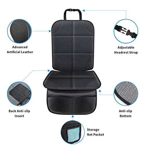 Car Seat Protector, BeaSaf Car Seat Protector for Child and Pet with Thickest Padding to Protect Against Dirt and Damage Non-Slip Backing, 2 Large Organizer Pockets