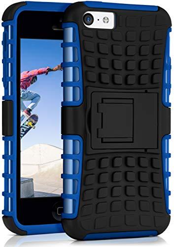 ONEFLOW Tank Case kompatibel mit iPhone 5c - Hülle Outdoor stoßfest, Handyhülle mit Ständer, Handy Hardcase Panzerhülle, Blau