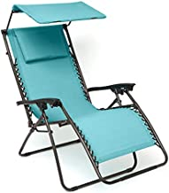 BrylaneHome Zero Gravity Chair with Pillow and Canopy, Breeze