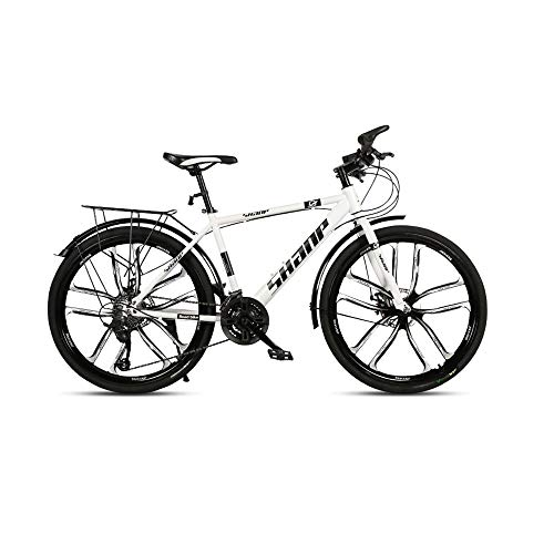 GYZLZZB Ten Knife Wheels Adult 26 Inch 21-Speed Bicycle Full Suspension Gears Dual Disc Brakes Mountain Bicycle, High-Carbon Steel Outdoors Mountain Bike with Shelves and Fenders(White)
