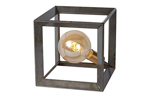 Lucide 73502/01/18 Thor Lampe de Table, Métal, E27, 60 W, Fer Naturel, 25 x 25 x 25 cm