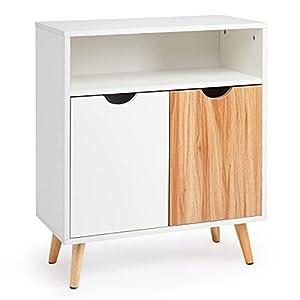 Meerveil Sideboard, Storage Cabinet with 2 doors An Open Storage Rack Floor Modern Style for Bedroom Living Room, 60 x 30 x 73.3 cm, White