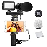 Movo Smartphone Vlogging Kit V7 with Grip Rig, Stereo Microphone, LED Light and Wireless Remote - YouTube, TikTok, Vlogging Equipment for iPhone/Android Smartphone Video Kit