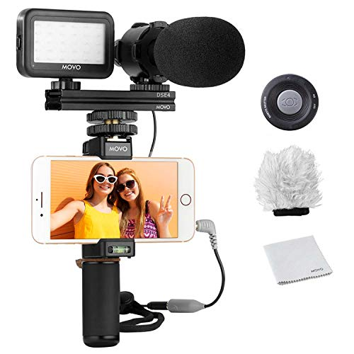 Movo Smartphone Vlogging Kit V7 with Grip Rig, Stereo Microphone, LED...