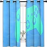 Cortina de ahorro de energía para cortinas de baño verde Game Joystick Boy Game Curtain Game Controller Modern Thermal Insulated Black Out Cortina de 160 x 160 cm