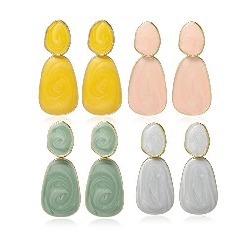 HMMJ Pendientes Colgantes de Color Caramelo para Mujer, Estilo de Moda, Pendientes Colgantes, Paquete de 4