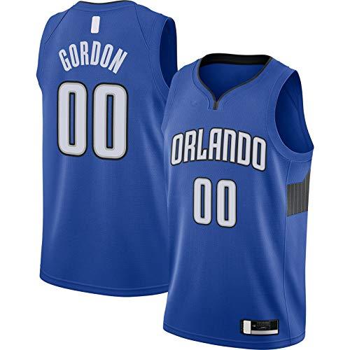 Azul - Gordon Bordado Traning Jersey Orlando Baloncesto Jersey Aaron Manga Corta #00 Terminado Swingman Jersey Magia Declaración Edición-S