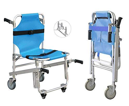 GLJY Treppenstuhl,EMS Evacuation Stair Chair Früher 3 Verstellbare Schnallen Sessellifte,Rettungswagen-Feuerwehrmann-Evakuierungs-Medizinischer Transport-Stuhl Mit 4 Rädern,350 Pfund Kapazität