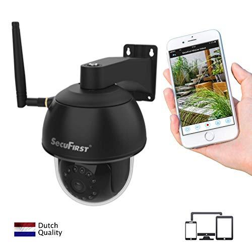 CAM214B PTZ IP Dome Kamera, überwachungskamera WLAN Outdoor, 6X Zoom, Zweiwege-Audio, IR-Nachtsicht, IP66 wasserfest, Bewegungsmelder, Micro SD-Karte zu 128 GB, Schwarz