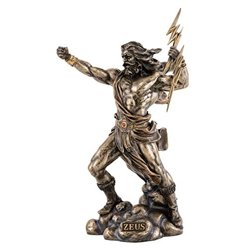 Top Collection Zeus Statue Holding Thunderbolt- Hand Painted Greek God of the Sky and Thunder Sculpture in Premium Cold Cast Bronze- 11-Inch King of the Olympian Gods Ancient Roman Jupiter Figurine