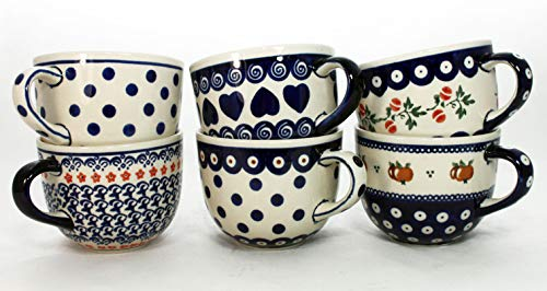 Becherset (6 St.) in 6 verschiedenen Dekoren - Original Bunzlauer Keramik