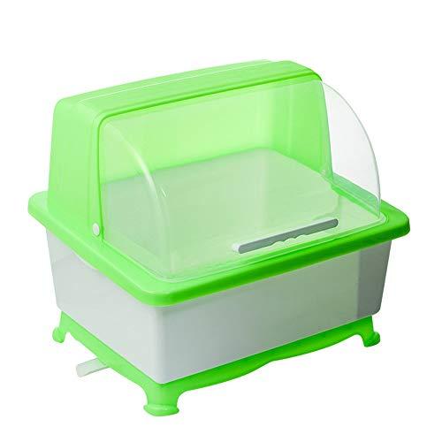 Escurridor de Platos Caja de almacenamiento de vajilla de cocina Tazón Vajilla bastidor de una sola capa de drenaje rack Armario con tapa para Capacidad Adicional ( Color : Verde , Size : 37x47x38cm )