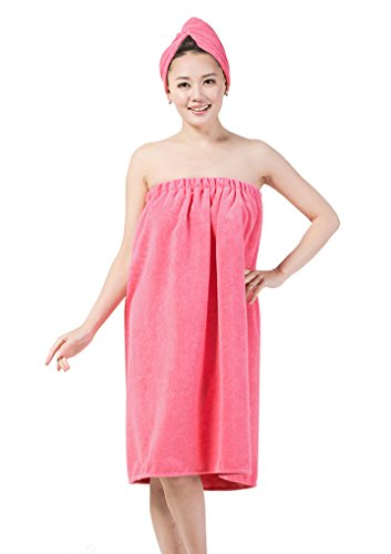 Toalla de baño de microfibra supersuave absorbente para mujer, serie de vestido tubo con gorro de ducha, toalla de baño, sombrero de secado, albornoz de baño para mujer, rosa claro