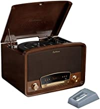 Electrohome Kingston 7-in-1 Vintage Vinyl Record Player Stereo System with 3-Speed Turntable, Bluetooth, AM/FM Radio, CD, Aux in, RCA/Headphone Out with 2 Bonus Replacement Needles (RR75)