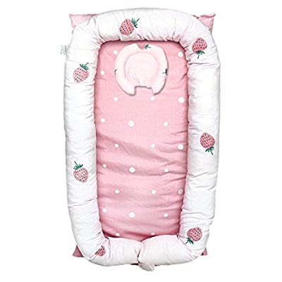 Abreeze Baby Bassinet for Bed -Strawberry Baby Lounger - Breathable & Hypoallergenic Co-Sleeping Baby Bed - 100% Cotton Portable Crib for Bedroom/Travel