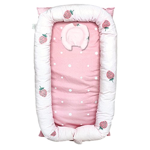 Great Price! Abreeze Baby Bassinet for Bed -Strawberry Baby Lounger - Breathable & Hypoallergenic Co...