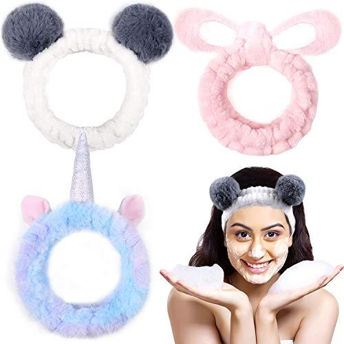 Lorfancy 3 Pack Womens Makeup Spa Headbands Girls Unicorn Panda Facial Towel Face Wash Soft Elastic Hair Bands