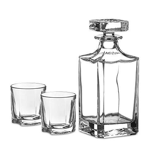Amisglass Whiskey Karaffe mit 2 Gläsern, Whiskey Set, 3-teilig, Whisky Dekanter 800ml und Whisky Gläser 300ml 2 Stück, Kristallgläser & Longdrinkgläser