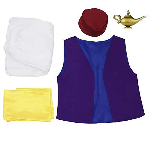 Zoyie Herren Aladdin Cosplay Kostüm, Arabian Fairy Tale Anzüge Komplettsets Kostüm Arabischer Prinz Wüstenprinz Komplette Kostüme Outfit Bühnen Performance Feier Kleidung für Unisex Erwachsene